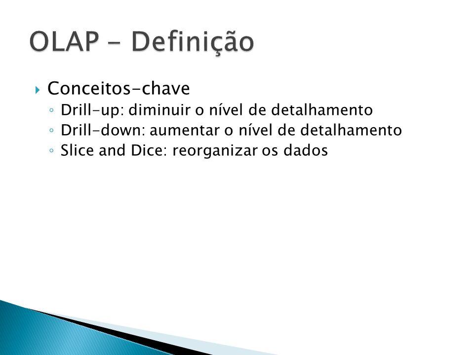 Conceitos-chave Drill-up: diminuir o nível de detalhamento Drill-down: aumentar o nível de detalhamento Slice and Dice: reorganizar os dados