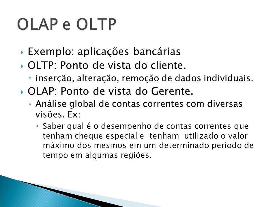 Exemplo: aplicações bancárias OLTP: Ponto de vista do cliente. inserção, alteração, remoção de dados individuais. OLAP: Ponto de vista do Gerente. Aná