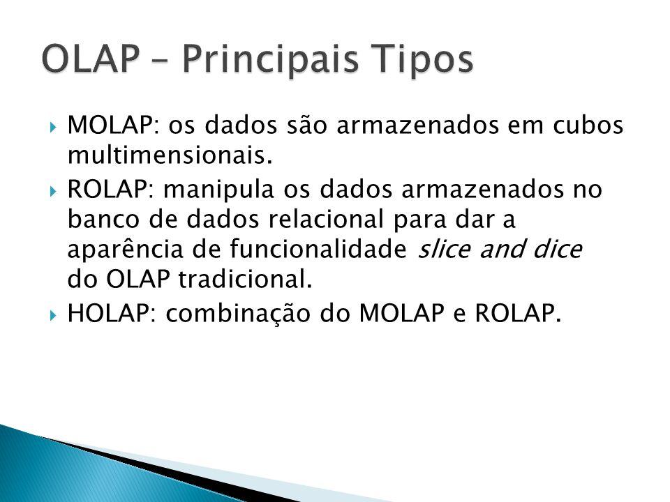 MOLAP: os dados são armazenados em cubos multimensionais. ROLAP: manipula os dados armazenados no banco de dados relacional para dar a aparência de fu