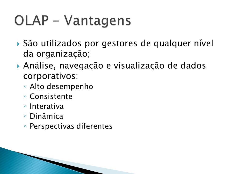 São utilizados por gestores de qualquer nível da organização; Análise, navegação e visualização de dados corporativos: Alto desempenho Consistente Int