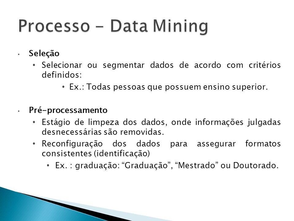 Seleção Selecionar ou segmentar dados de acordo com critérios definidos: Ex.: Todas pessoas que possuem ensino superior. Pré-processamento Estágio de