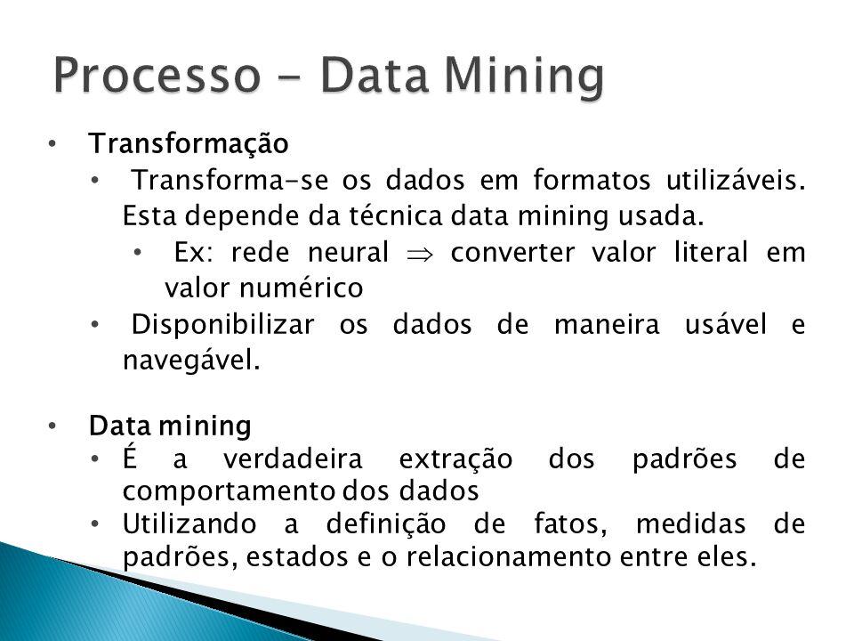 Transformação Transforma-se os dados em formatos utilizáveis. Esta depende da técnica data mining usada. Ex: rede neural converter valor literal em va