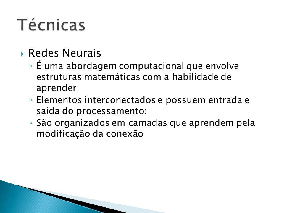 Redes Neurais É uma abordagem computacional que envolve estruturas matemáticas com a habilidade de aprender; Elementos interconectados e possuem entra