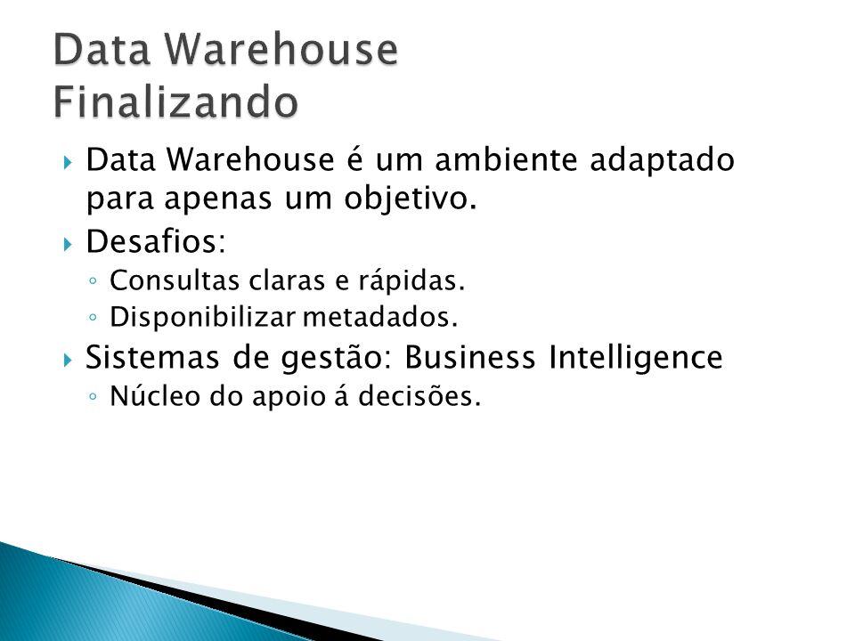 Data Warehouse é um ambiente adaptado para apenas um objetivo. Desafios: Consultas claras e rápidas. Disponibilizar metadados. Sistemas de gestão: Bus