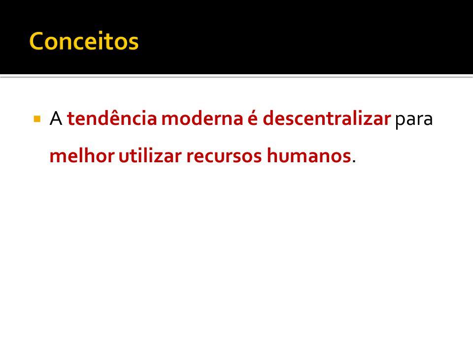 A tendência moderna é descentralizar para melhor utilizar recursos humanos.