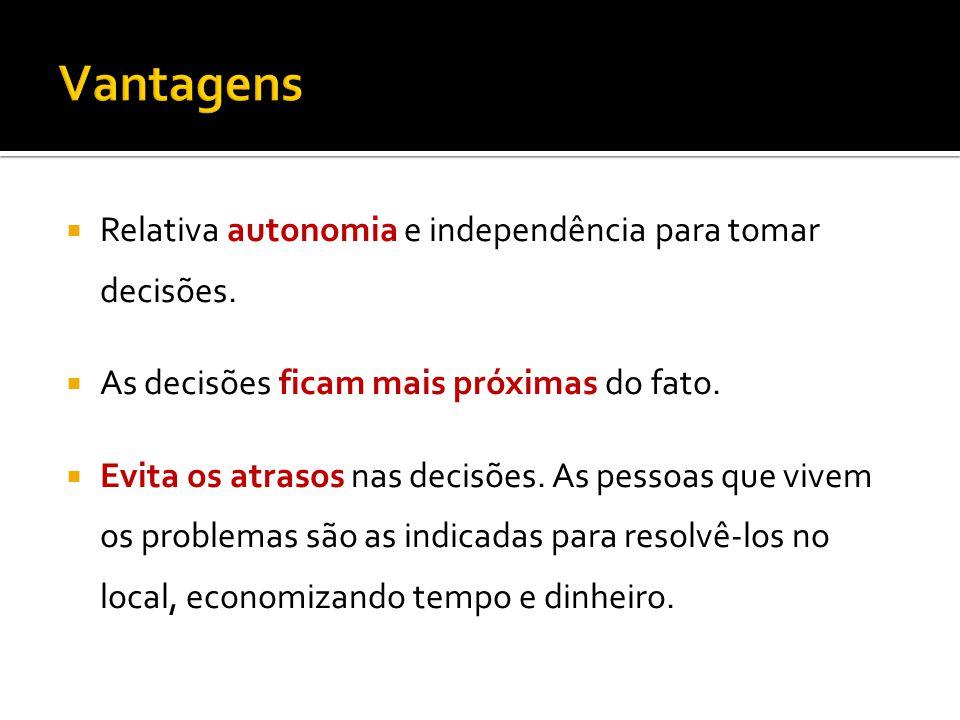 Relativa autonomia e independência para tomar decisões.