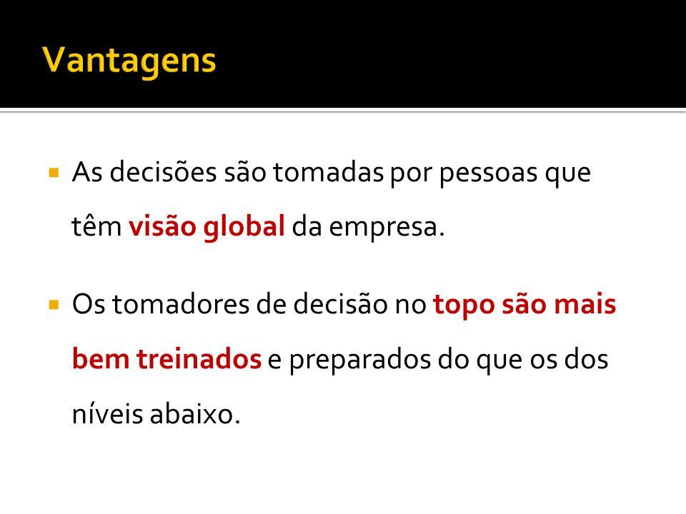 As decisões são tomadas por pessoas que têm visão global da empresa.
