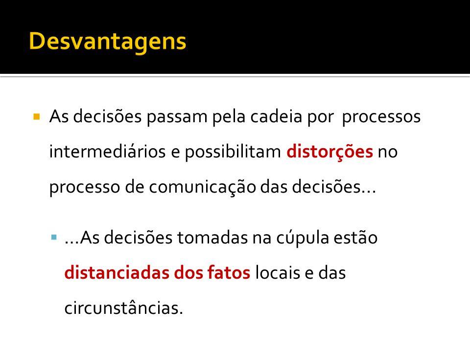 As decisões passam pela cadeia por processos intermediários e possibilitam distorções no processo de comunicação das decisões...
