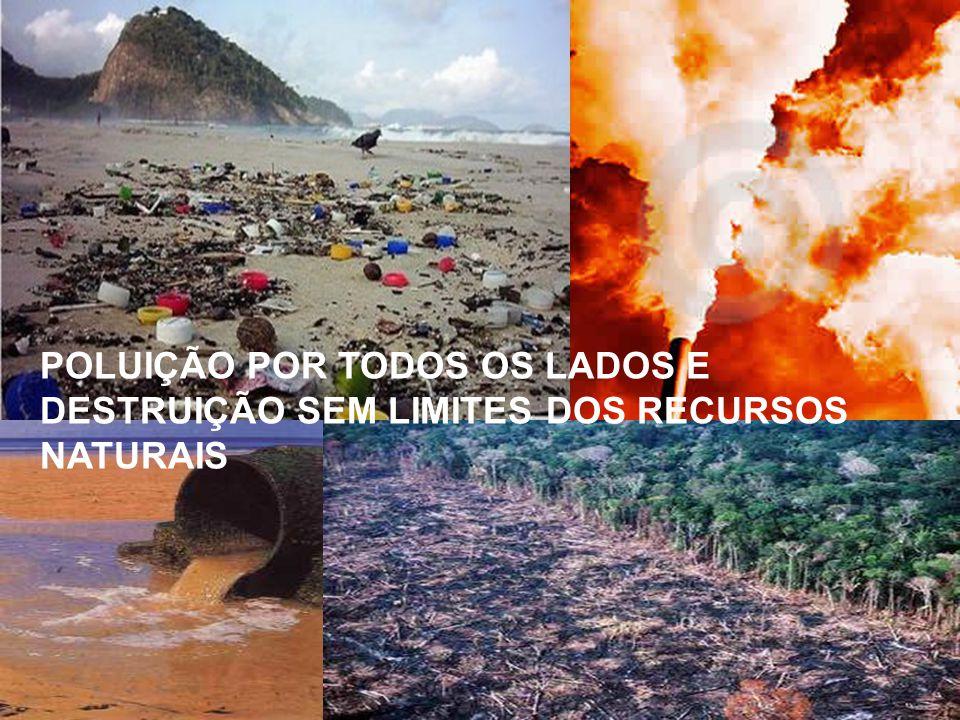 POLUIÇÃO POR TODOS OS LADOS E DESTRUIÇÃO SEM LIMITES DOS RECURSOS NATURAIS