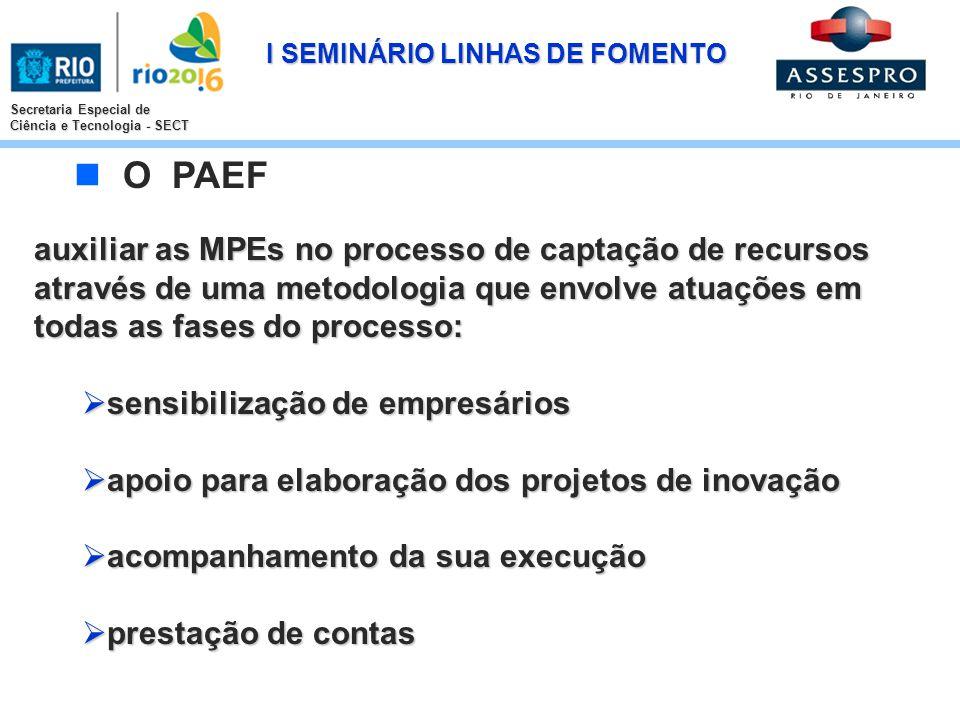 I SEMINÁRIO LINHAS DE FOMENTO Secretaria Especial de Ciência e Tecnologia - SECT auxiliar as MPEs no processo de captação de recursos através de uma m