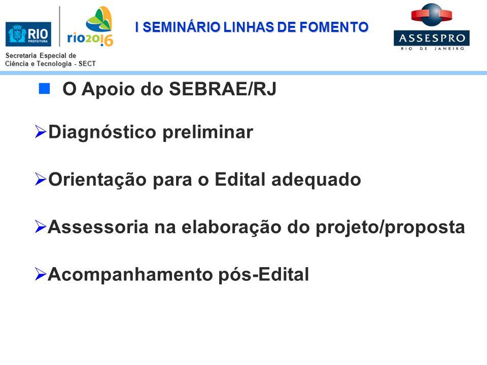 I SEMINÁRIO LINHAS DE FOMENTO Secretaria Especial de Ciência e Tecnologia - SECT Diagnóstico preliminar Orientação para o Edital adequado Assessoria n