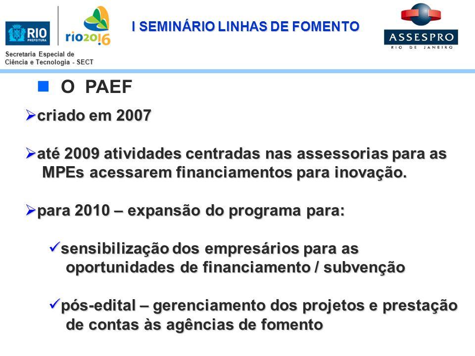 I SEMINÁRIO LINHAS DE FOMENTO Secretaria Especial de Ciência e Tecnologia - SECT criado em 2007 criado em 2007 até 2009 atividades centradas nas asses