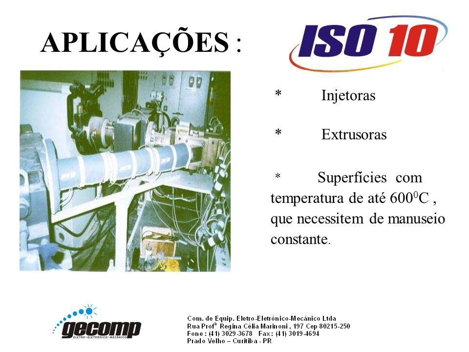 APLICAÇÕES : *Injetoras *Extrusoras * Superfícies com temperatura de até 600 0 C, que necessitem de manuseio constante.