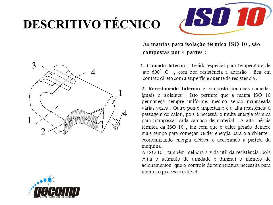 DESCRITIVO TÉCNICO As mantas para isolação térmica ISO-10, são compostas por 4 partes : 1. Camada Interna : Tecido especial para temperatura de até 60