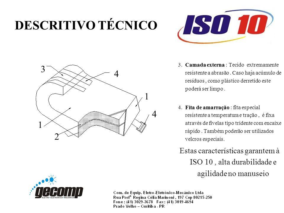 DESCRITIVO TÉCNICO Camada externa 3.Camada externa : Tecido extremamente resistente a abrasão.