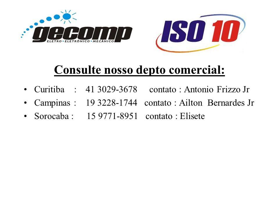 Consulte nosso depto comercial: Curitiba : 41 3029-3678 contato : Antonio Frizzo Jr Campinas : 19 3228-1744 contato : Ailton Bernardes Jr Sorocaba : 15 9771-8951 contato : Elisete