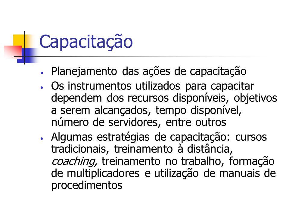 Capacitação Planejamento das ações de capacitação Os instrumentos utilizados para capacitar dependem dos recursos disponíveis, objetivos a serem alcan