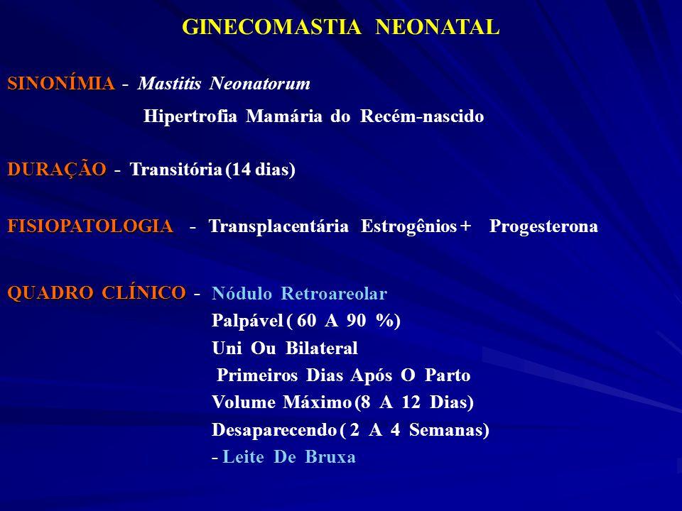 GINECOMASTIA NEONATAL SINONÍMIA SINONÍMIA - Mastitis Neonatorum Hipertrofia Mamária do Recém-nascido DURAÇÃO DURAÇÃO - Transitória (14 dias) FISIOPATO