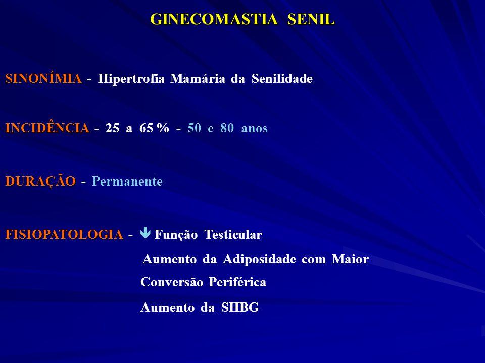 GINECOMASTIA SENIL SINONÍMIA SINONÍMIA - Hipertrofia Mamária da Senilidade INCIDÊNCIA INCIDÊNCIA - 25 a 65 % - 50 e 80 anos DURAÇÃO DURAÇÃO - Permanen
