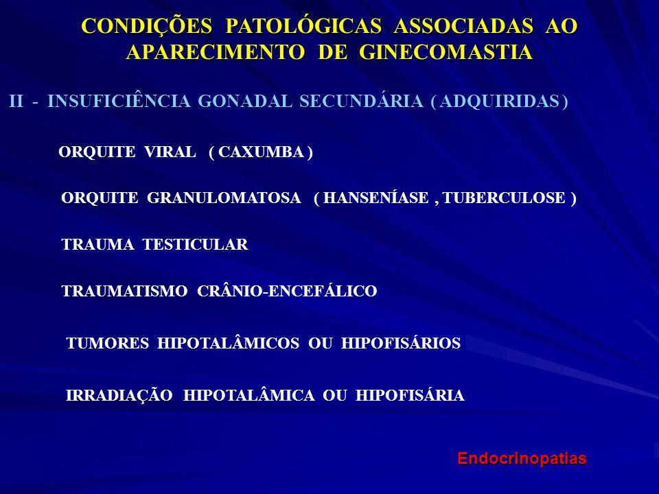 CONDIÇÕES PATOLÓGICAS ASSOCIADAS AO APARECIMENTO DE GINECOMASTIA II - INSUFICIÊNCIA GONADAL SECUNDÁRIA ( ADQUIRIDAS ) ORQUITE VIRAL ( CAXUMBA ) ORQUIT