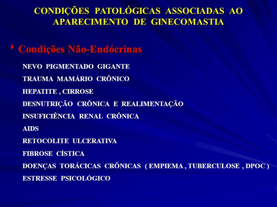 CONDIÇÕES PATOLÓGICAS ASSOCIADAS AO APARECIMENTO DE GINECOMASTIA Condições Não-Endócrinas Condições Não-Endócrinas NEVO PIGMENTADO GIGANTE TRAUMA MAMÁ