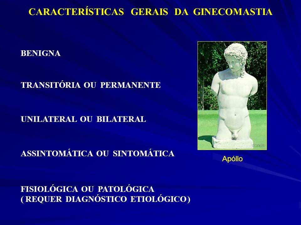 CARACTERÍSTICAS GERAIS DA GINECOMASTIA BENIGNA FISIOLÓGICA OU PATOLÓGICA ( REQUER DIAGNÓSTICO ETIOLÓGICO ) TRANSITÓRIA OU PERMANENTE UNILATERAL OU BIL