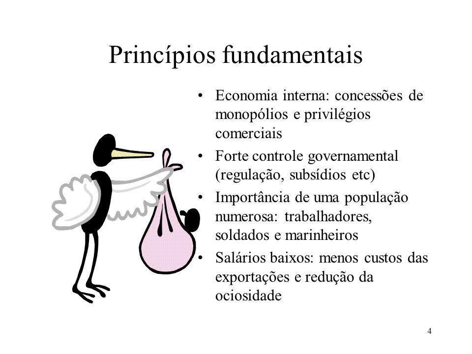 4 Princípios fundamentais Economia interna: concessões de monopólios e privilégios comerciais Forte controle governamental (regulação, subsídios etc)