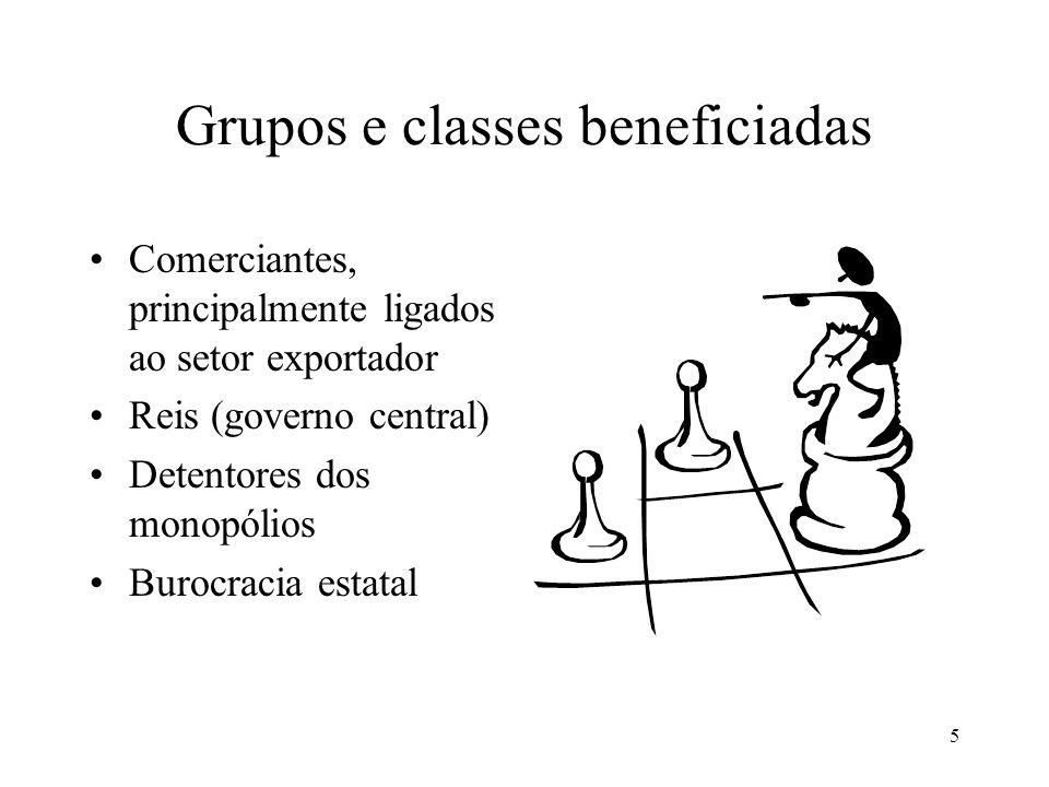 5 Grupos e classes beneficiadas Comerciantes, principalmente ligados ao setor exportador Reis (governo central) Detentores dos monopólios Burocracia estatal