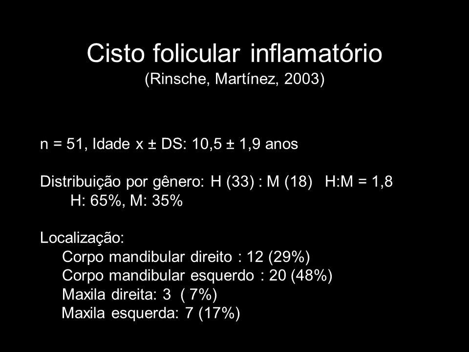 Cisto folicular inflamatório (Rinsche, Martínez, 2003) n = 51, Idade x ± DS: 10,5 ± 1,9 anos Distribuição por gênero: H (33) : M (18) H:M = 1,8 H: 65%