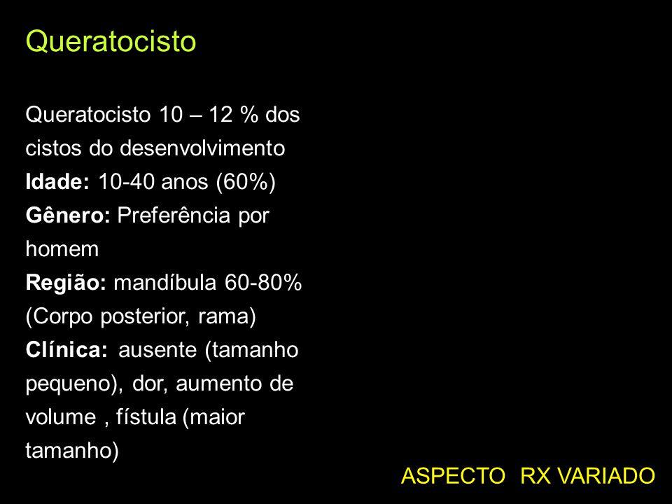 Queratocisto Queratocisto 10 – 12 % dos cistos do desenvolvimento Idade: 10-40 anos (60%) Gênero: Preferência por homem Região: mandíbula 60-80% (Corp