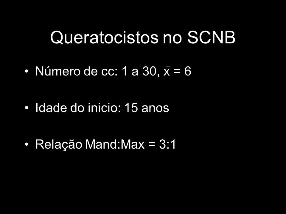 Queratocistos no SCNB Número de cc: 1 a 30, x = 6 Idade do inicio: 15 anos Relação Mand:Max = 3:1