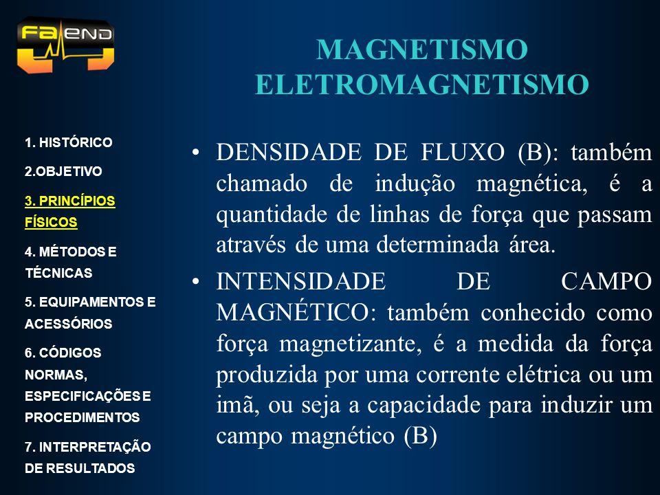 MAGNETISMO ELETROMAGNETISMO DENSIDADE DE FLUXO (B): também chamado de indução magnética, é a quantidade de linhas de força que passam através de uma d