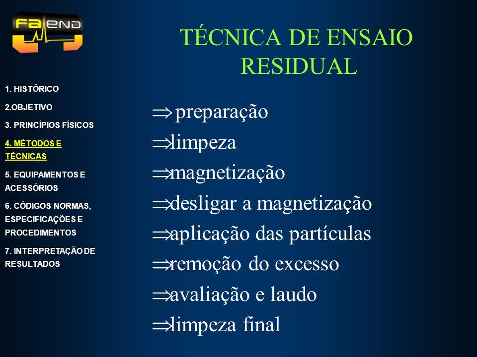 TÉCNICA DE ENSAIO RESIDUAL preparação limpeza magnetização desligar a magnetização aplicação das partículas remoção do excesso avaliação e laudo limpe