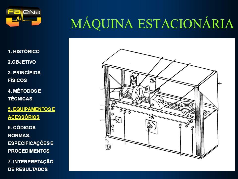 MÁQUINA ESTACIONÁRIA 1. HISTÓRICO 2.OBJETIVO 3. PRINCÍPIOS FÍSICOS 4. MÉTODOS E TÉCNICAS 5. EQUIPAMENTOS E ACESSÓRIOS 6. CÓDIGOS NORMAS, ESPECIFICAÇÕE