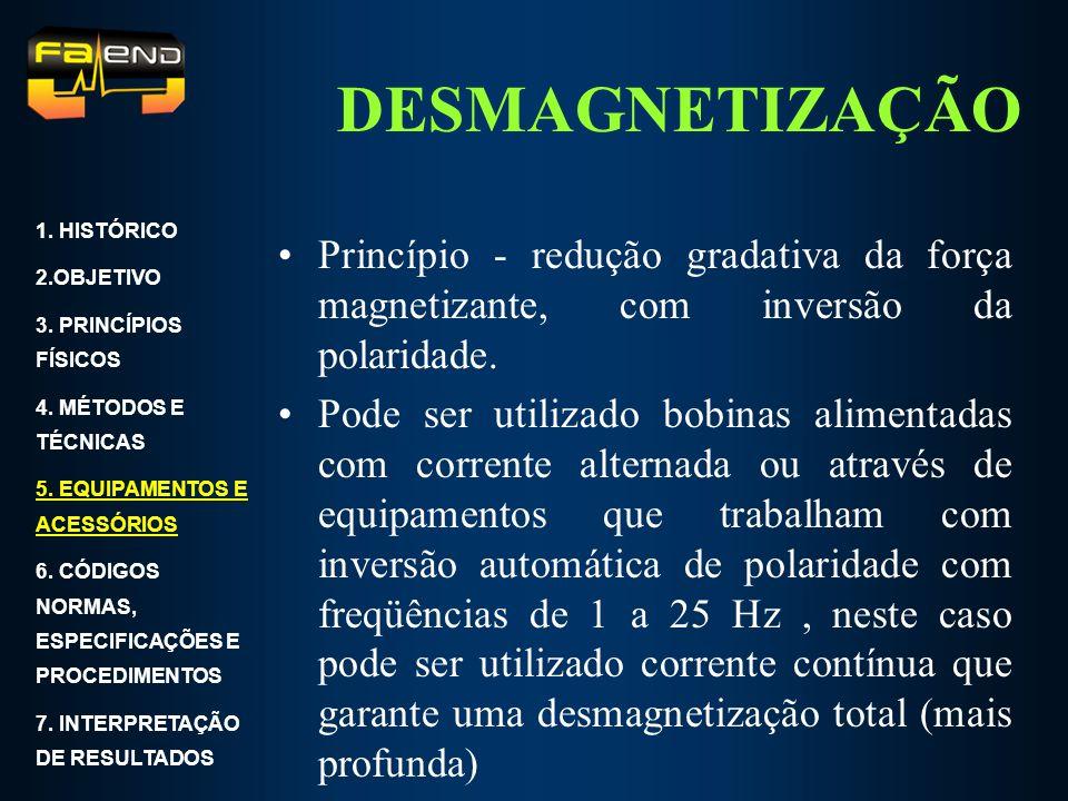DESMAGNETIZAÇÃO Princípio - redução gradativa da força magnetizante, com inversão da polaridade. Pode ser utilizado bobinas alimentadas com corrente a