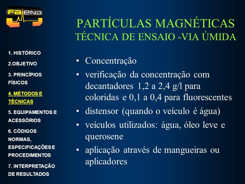 PARTÍCULAS MAGNÉTICAS TÉCNICA DE ENSAIO -VIA ÚMIDA Concentração verificação da concentração com decantadores 1,2 a 2,4 g/l para coloridas e 0,1 a 0,4