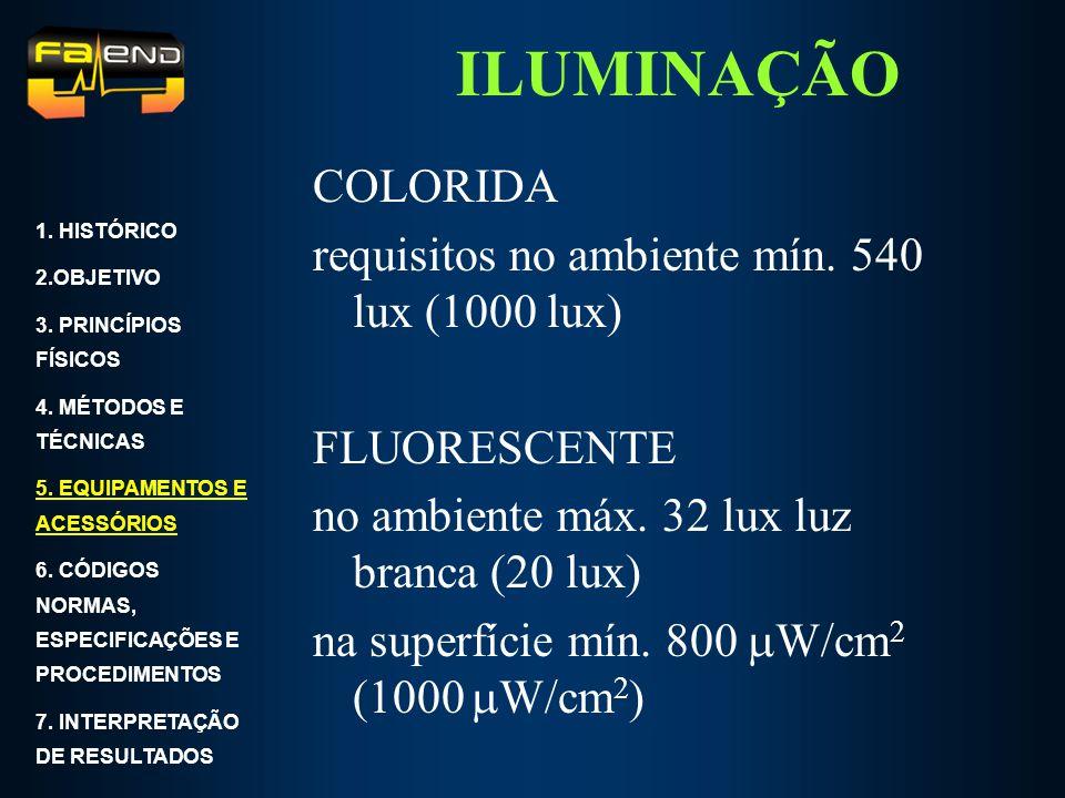 ILUMINAÇÃO COLORIDA requisitos no ambiente mín. 540 lux (1000 lux) FLUORESCENTE no ambiente máx. 32 lux luz branca (20 lux) na superfície mín. 800 W/c