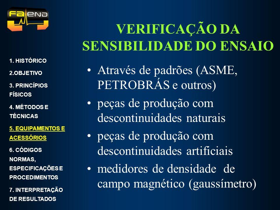 VERIFICAÇÃO DA SENSIBILIDADE DO ENSAIO Através de padrões (ASME, PETROBRÁS e outros) peças de produção com descontinuidades naturais peças de produção