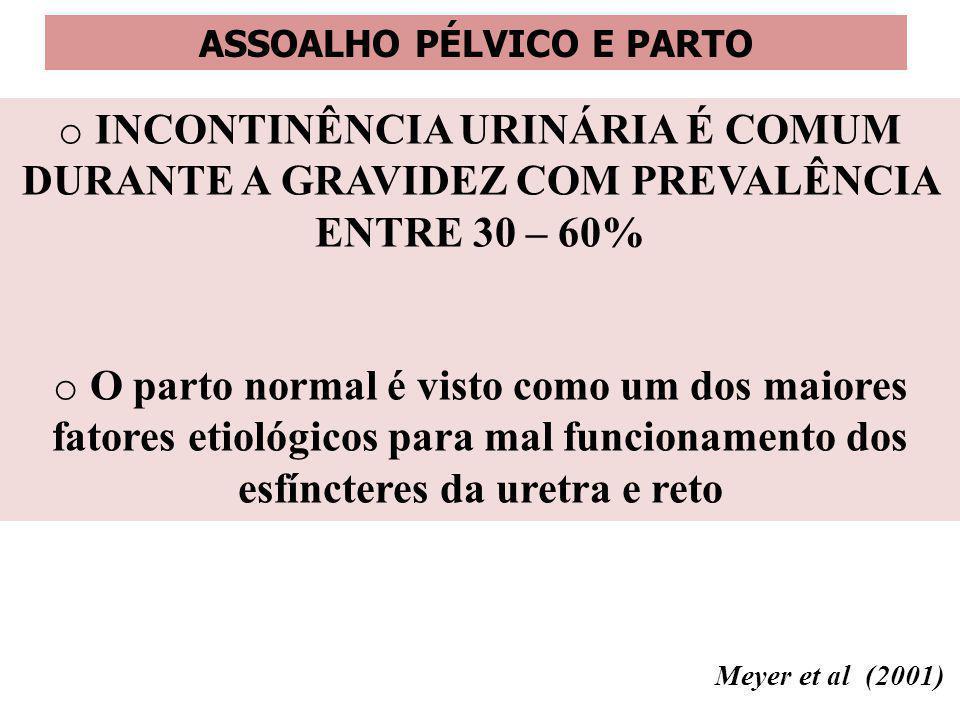 ASSOALHO PÉLVICO E PARTO o INCONTINÊNCIA URINÁRIA É COMUM DURANTE A GRAVIDEZ COM PREVALÊNCIA ENTRE 30 – 60% o O parto normal é visto como um dos maior