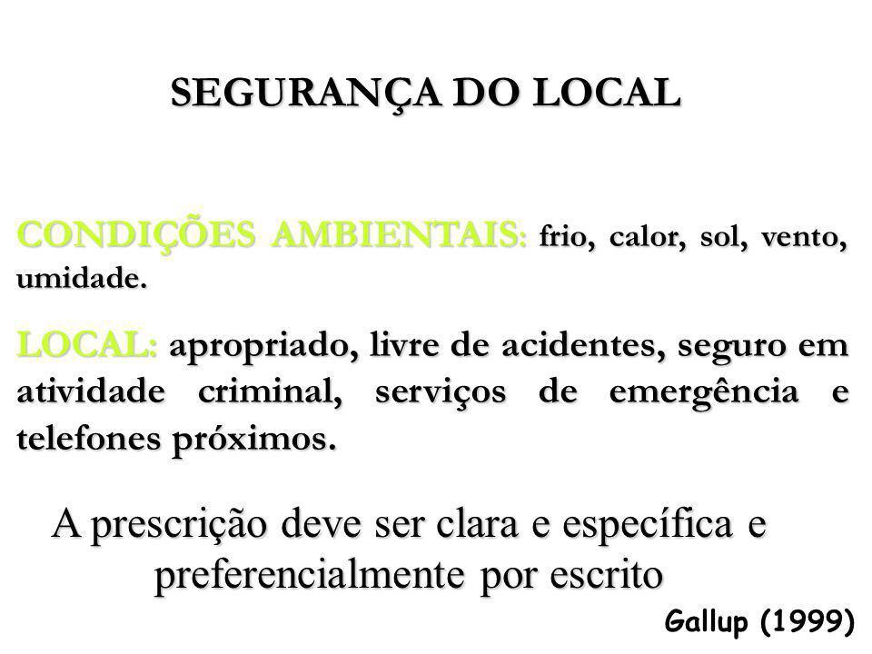 Gallup (1999) CONDIÇÕES AMBIENTAIS : frio, calor, sol, vento, umidade. LOCAL: apropriado, livre de acidentes, seguro em atividade criminal, serviços d