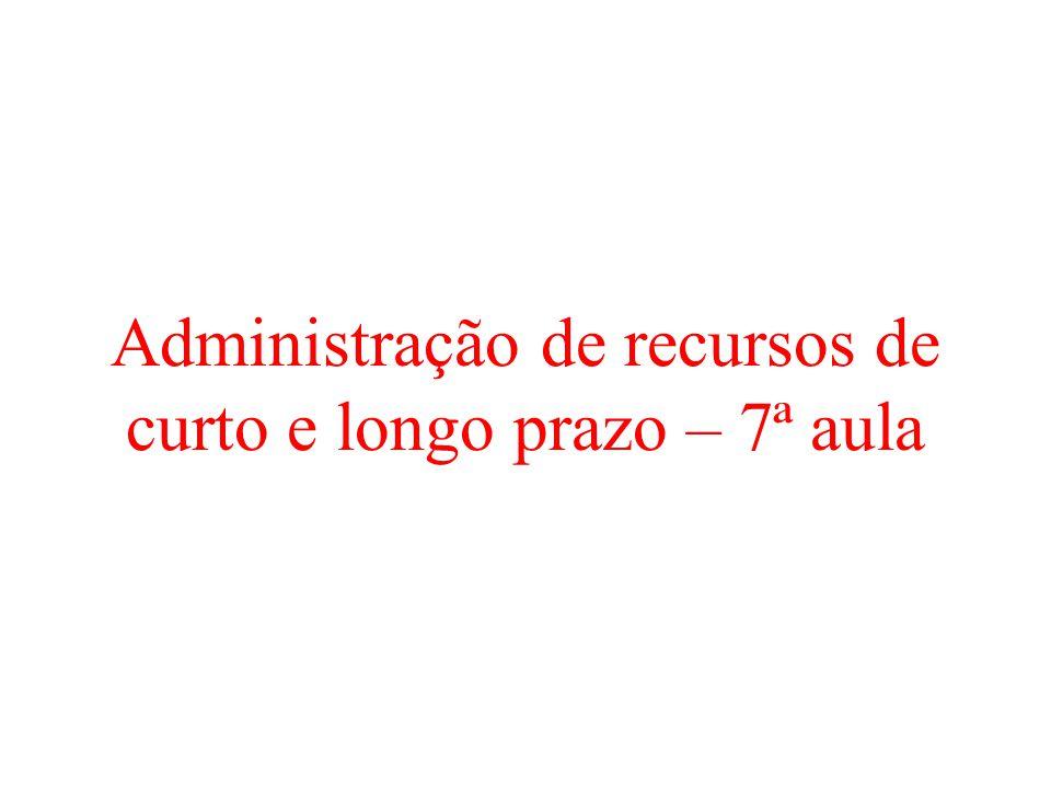 Administração de recursos de curto e longo prazo – 7ª aula