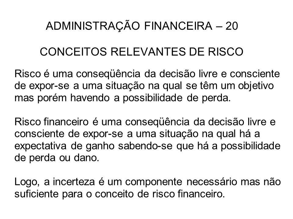 ADMINISTRAÇÃO FINANCEIRA – 20 CONCEITOS RELEVANTES DE RISCO Risco é uma conseqüência da decisão livre e consciente de expor-se a uma situação na qual