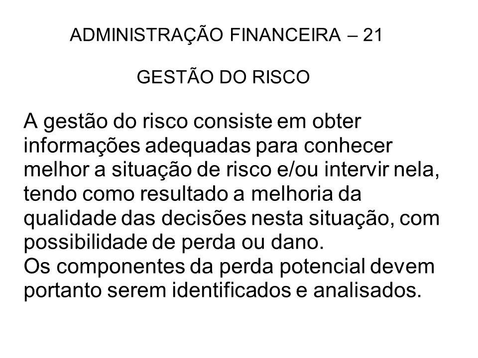 ADMINISTRAÇÃO FINANCEIRA – 21 GESTÃO DO RISCO A gestão do risco consiste em obter informações adequadas para conhecer melhor a situação de risco e/ou