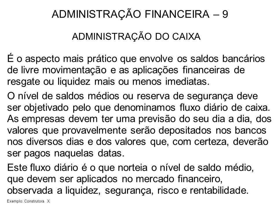 ADMINISTRAÇÃO FINANCEIRA – 9 ADMINISTRAÇÃO DO CAIXA É o aspecto mais prático que envolve os saldos bancários de livre movimentação e as aplicações fin