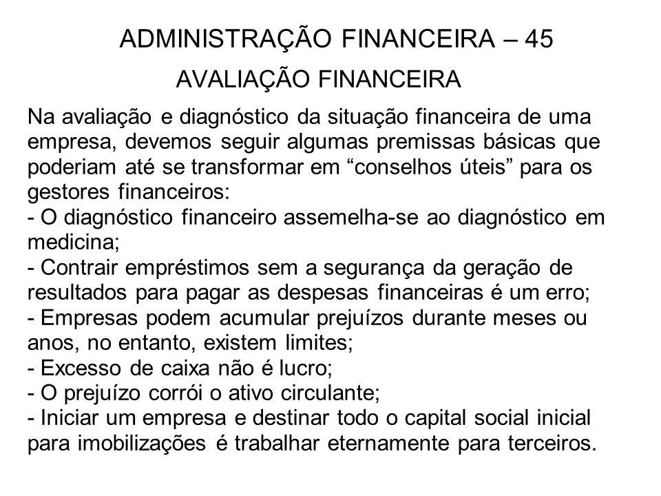 ADMINISTRAÇÃO FINANCEIRA – 45 AVALIAÇÃO FINANCEIRA Na avaliação e diagnóstico da situação financeira de uma empresa, devemos seguir algumas premissas
