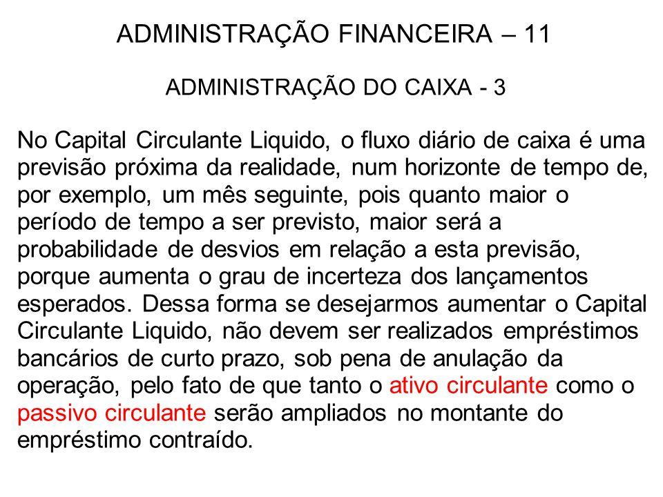 ADMINISTRAÇÃO FINANCEIRA – 11 ADMINISTRAÇÃO DO CAIXA - 3 No Capital Circulante Liquido, o fluxo diário de caixa é uma previsão próxima da realidade, n