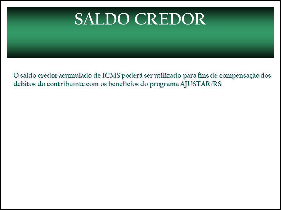 SALDO CREDOR O saldo credor acumulado de ICMS poderá ser utilizado para fins de compensação dos débitos do contribuinte com os benefícios do programa AJUSTAR/RS