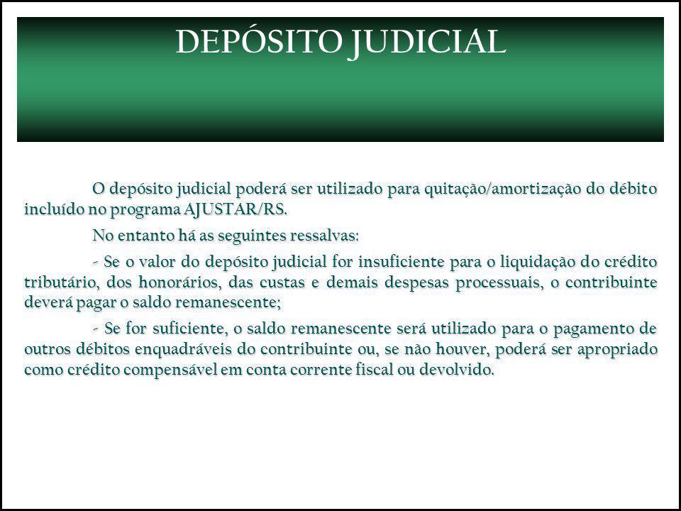 DEPÓSITO JUDICIAL O depósito judicial poderá ser utilizado para quitação/amortização do débito incluído no programa AJUSTAR/RS. No entanto há as segui