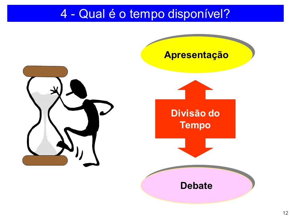 11 3 - Quem é o público? a)Composição b)Formação c)Experiência d)Organizações a que pertencem e)Expectativas com a apresentação