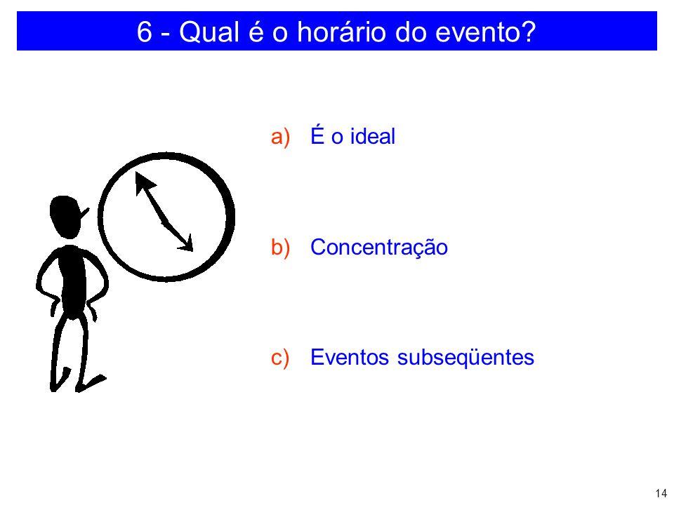 13 5 - Onde será a apresentação? a)Procurar conhecer o local b)Quantidade de lugares c)Acesso ao local